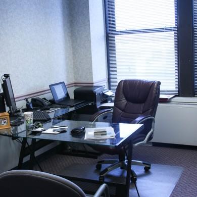 Office, glass desk